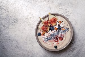 Blueberry banana smoothie bowl with figs and coconut