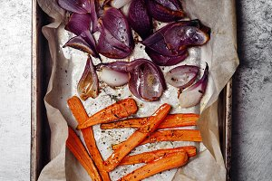 Roasted vegetables carrot and red onion