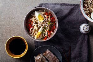 Lunch with udon noodles cooked with vegetables