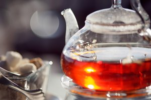 Tea in a teapot, glass teapot, Cup,