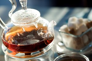 Tea in a beautiful teapot, glass tea