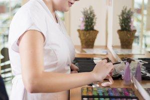 Woman in beauty salon.