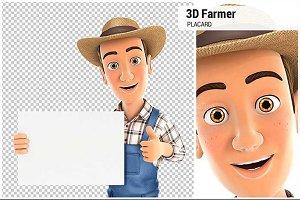 3D Farmer Holding Placard