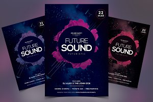 Futuristic Sound - Event PSD Flyer