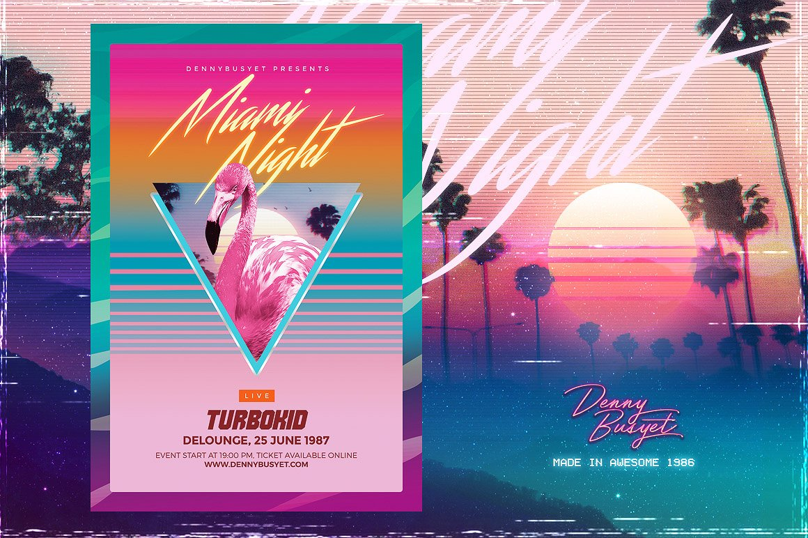 Miami Night 80 S Synthwave Flyer Flyer Templates