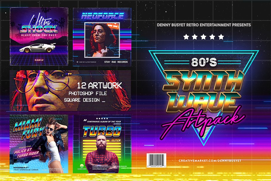 80's Synthwave Square Artpack ~ Instagram Templates ~ Creative Market
