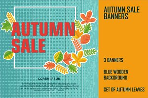 Bright halftone autumn sale banners