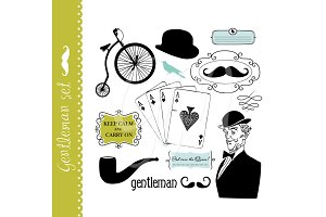 Gentleman clip art set, mustache