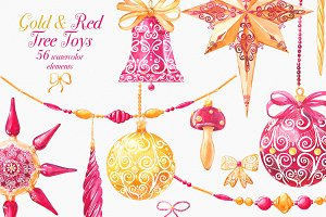 Tree toys Gold & Red Watercolor set