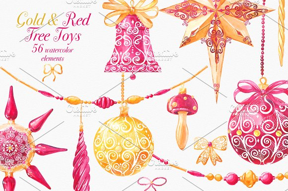 Tree toys Gold & Red Water-Graphicriver中文最全的素材分享平台