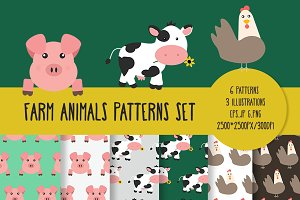 Farm Animals Patterns & Illustration