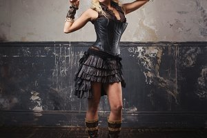Portrait of a beautiful steampunk