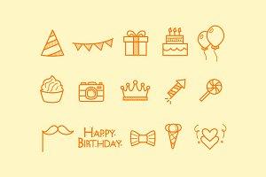 15 Birthday Doodle Icons