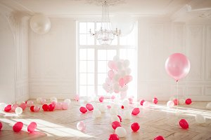 Palace is filled with pink balloons