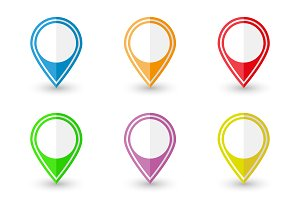 Set of location pin icons