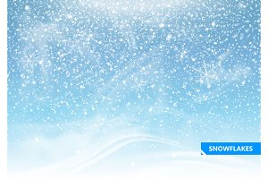 Falling snow on a blue background.