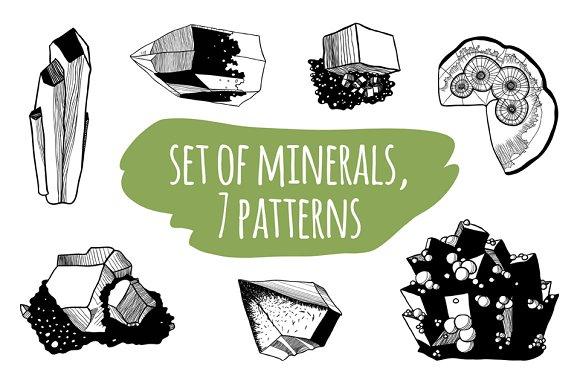 Minerals set + 2 cards + 7 patterns