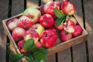 Wooden box of red apples