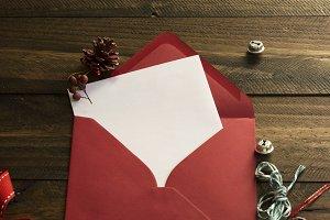 red envelope, white note