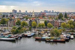 Oosterdok cityview in Amsterdam