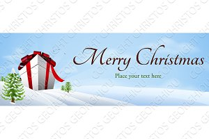 Giant Christmas gift banner background