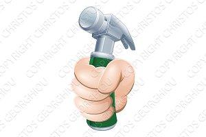 Hand holding hammer
