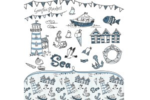 Sea Nautical clip art and background