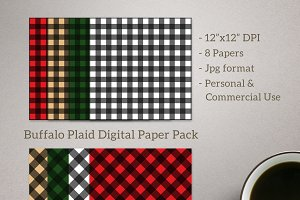 Buffalo Plaid Digital Paper 8 pack