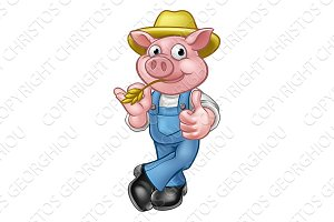 Farmer Pig Cartoon Character