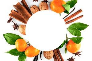 Festive frame with mandarins