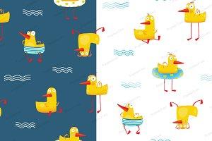 Kids Yellow ducky seamless pattern