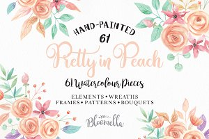 Watercolor Peach Wedding Flowers Kit
