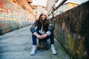 Skater woman portrait