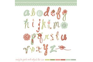 Hand drawn floral Alphabet
