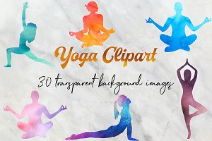 Watercolor Yoga Clipart