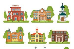 Building School Church Icon Set