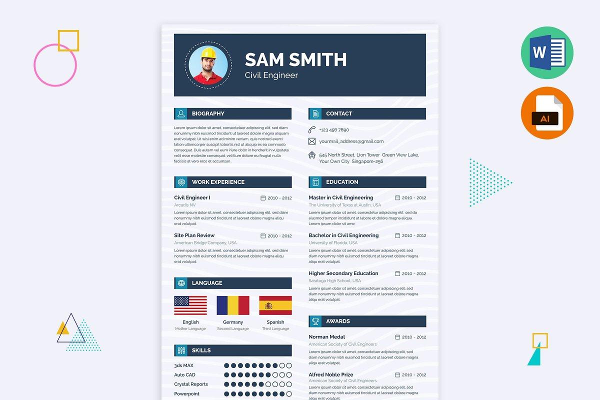 Civil Engineering Resume Word ~ Resume Templates ~ Creative ...