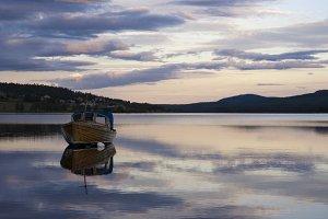 Boat on lake Funasdalssjon