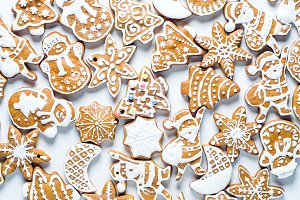 Christmas cookies on white backgroun