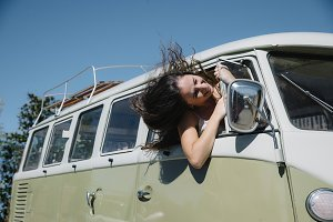 Teen woman inside a van