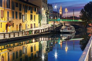 Naviglio Grande canal in Milan, Lombardia, Italy