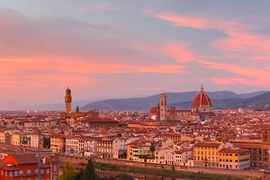 Famous view of Florence at gorgeous sunset, Italy