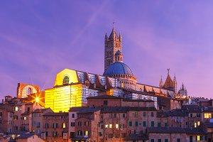 Siena Cathedral at night, Tuscany, Italy