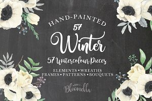 Winter Watercolor Anemones Package