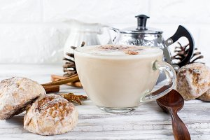 Christmas coffee with milk, spice or