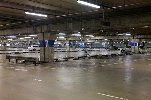 Empty parking garage underground interior