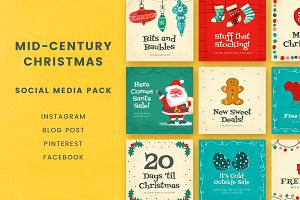 Mid-Century Christmas Social Pack