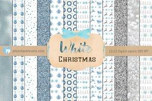 Pastel White Christmas Digital Paper