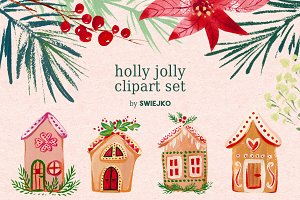 Gouache Christmas clipart set