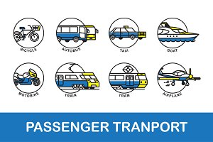 Passenger transport. Icons set